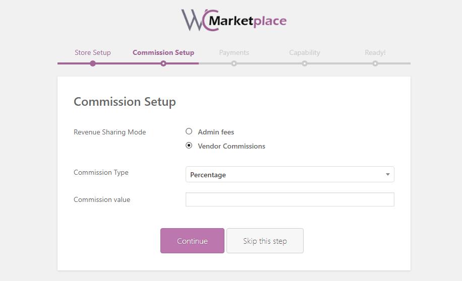 woocommerce wc marketplace commission setup