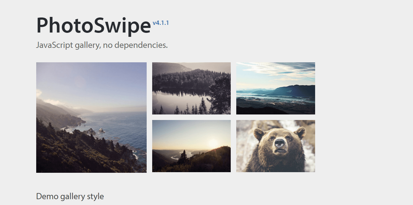 PhotoSwipe jQuery Lightbox Gallery Plugin