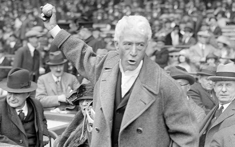 Iconic photo of Kenesaw Mountain Landis holding a baseball.