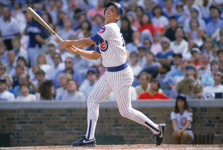 Mark Grace at-bat during a game at Wrigley Field.