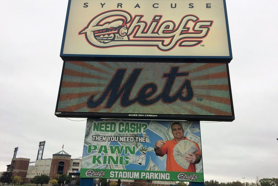 A sign outside of NBT Bank Stadium.