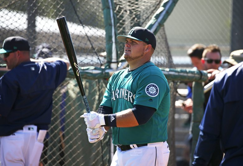 Dan Vogelbach during BP with the Seattle Mariners.