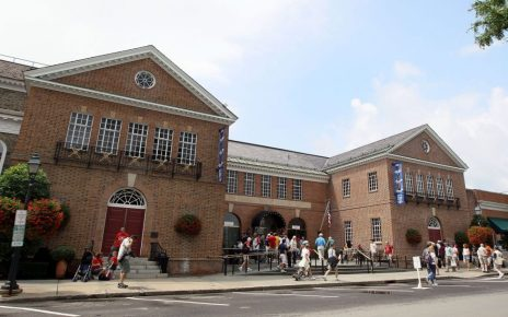 Outside of the National Baseball Hall of Fame in Cooperstown, New York.