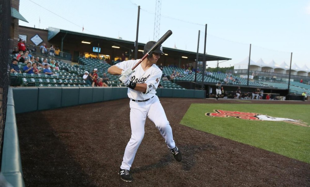 A River City Rascals player in the on-deck circle.
