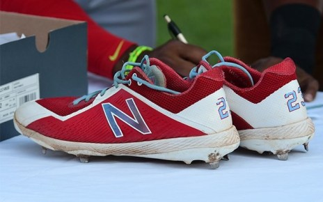 The cleats Tony Thomas wore when he stole first base.