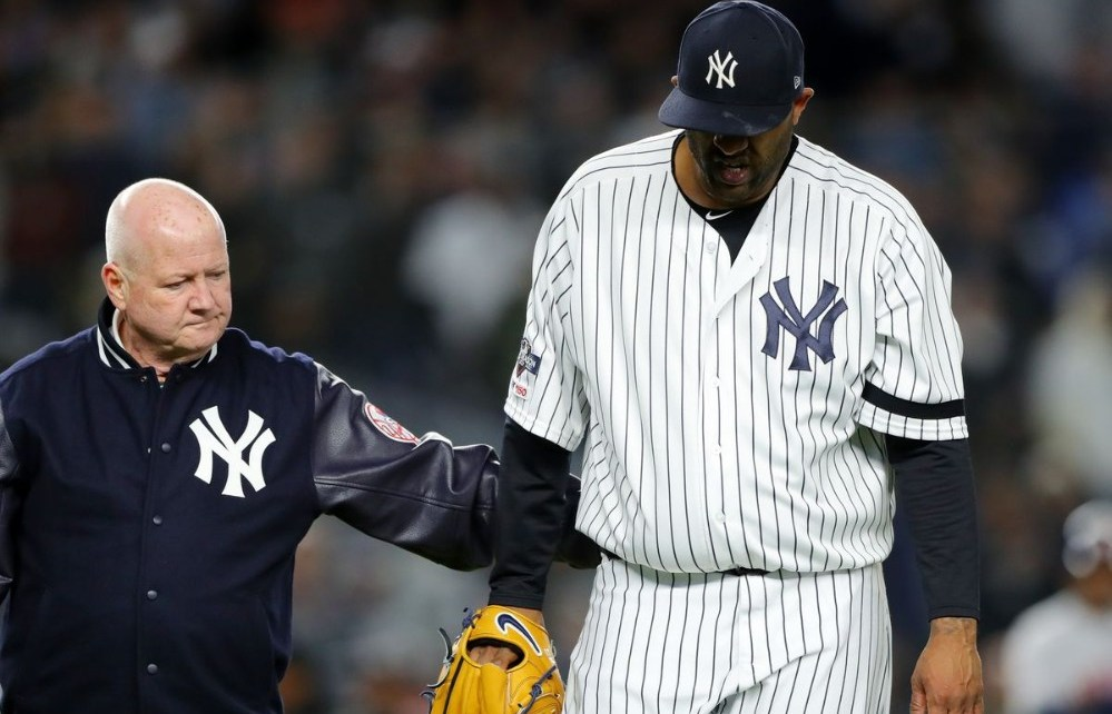 CC Sabathia led off the field during his last appearance.