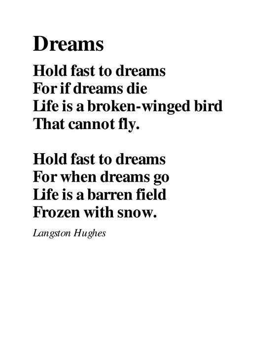 Hold Fast to Dreams- Poem.