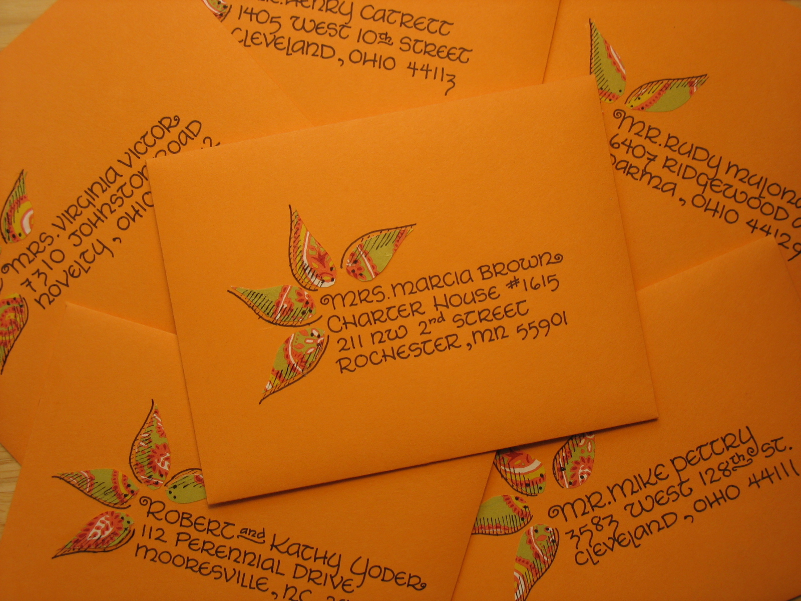 Wedding invitation addresses + paper leaf embellishment