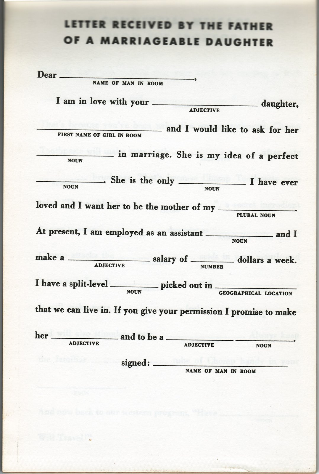 Throwback Thursday Mad Libs