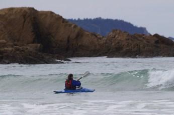 Galina heading into the surf