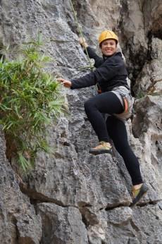Sarah climbing in Lan Hay Bay