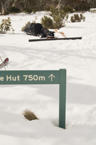 Collapsed at the Four Mile Hut turnoff