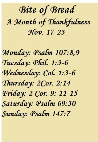 Bite of Bread Nov. 17-23. Thankfulness
