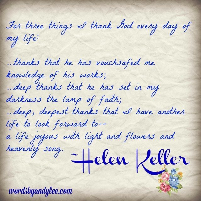 Helen Keller quote three things