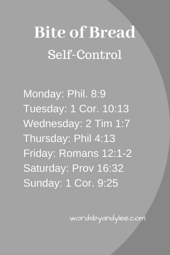 Bible reading plan self control