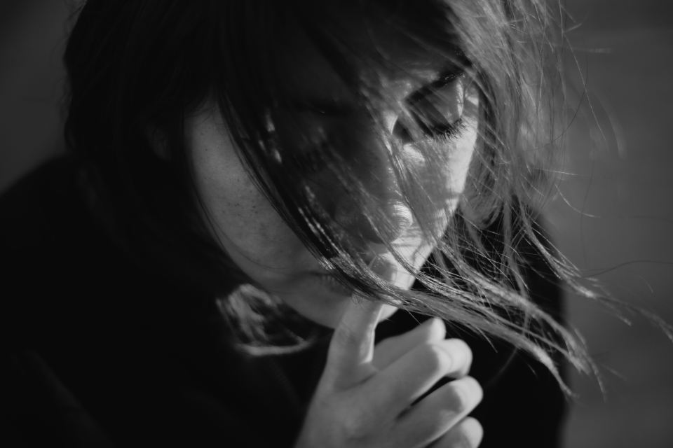 woman, depression, face