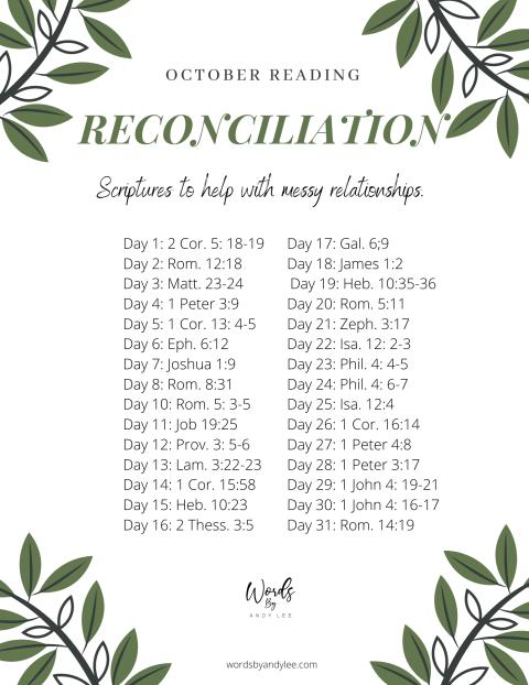 Reconciliation bible reading plan