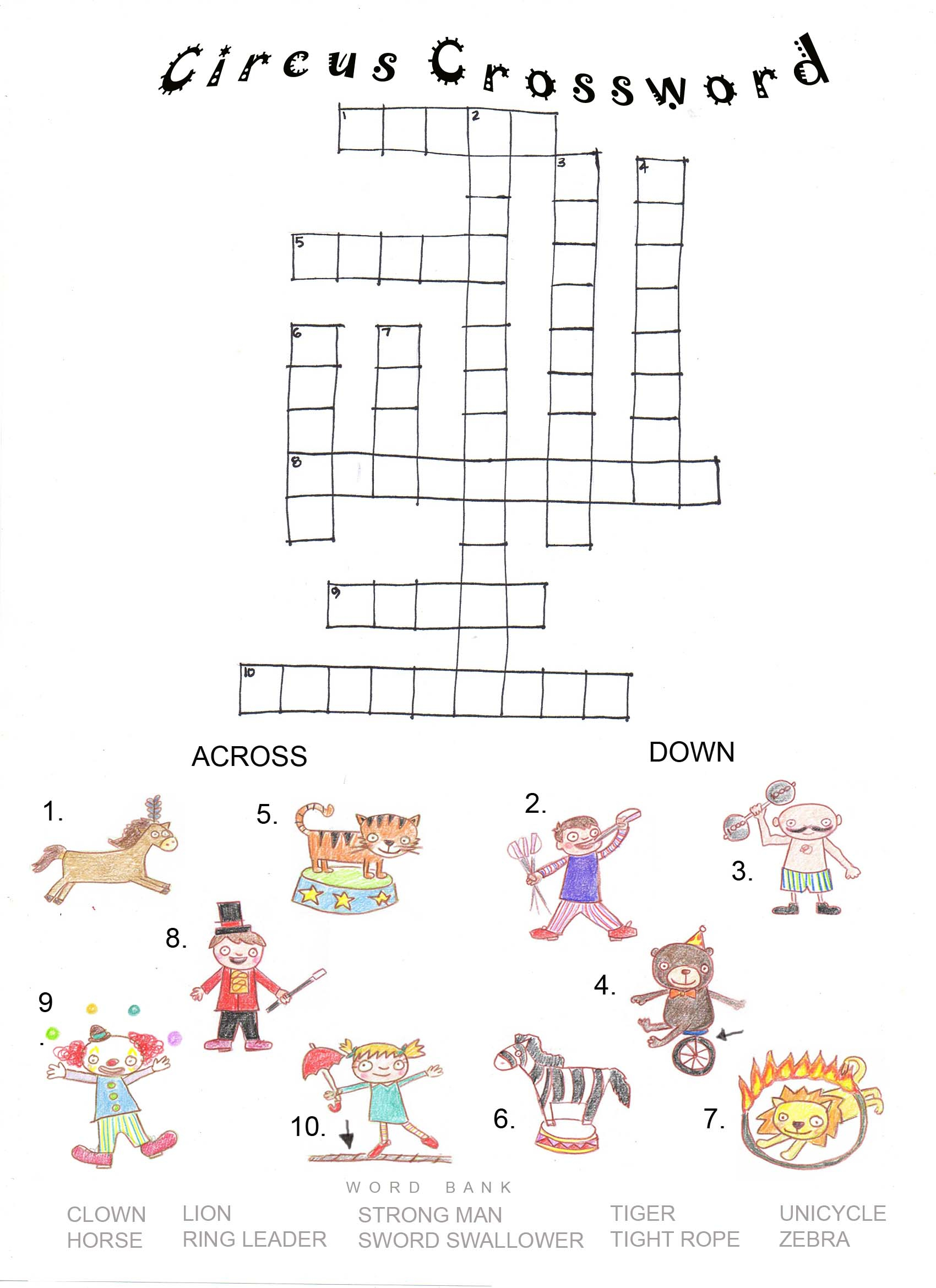 English Worksheets Circus Wordsearch