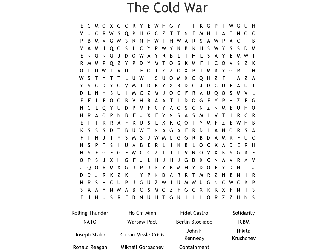 Word Search Cold War Printable Version Answers