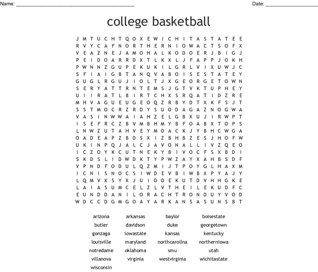 College Basketball Word Search