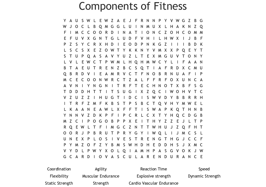 Fitness Word Search Printable