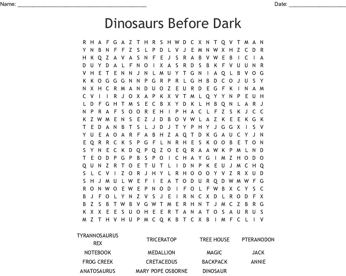 Dinosaur Word Search Printable