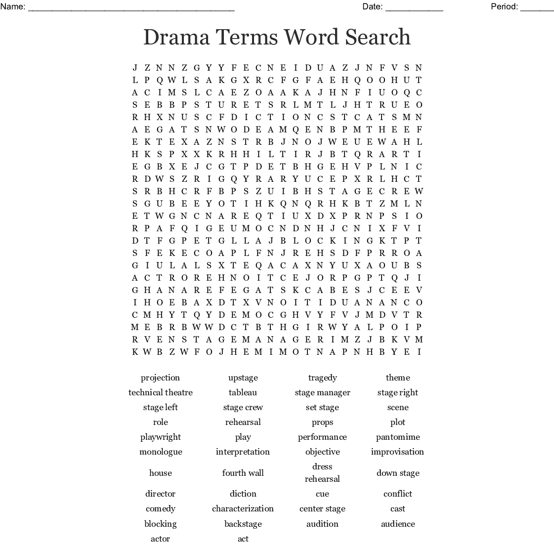 Drama Word Search Printable