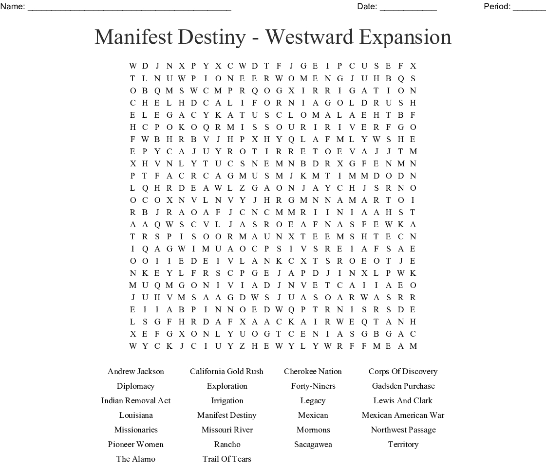 Westward Expansion Word Search Printable