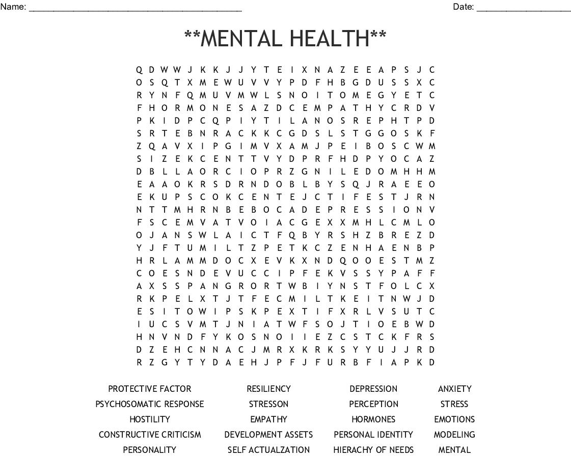 Stress Crossword Worksheet