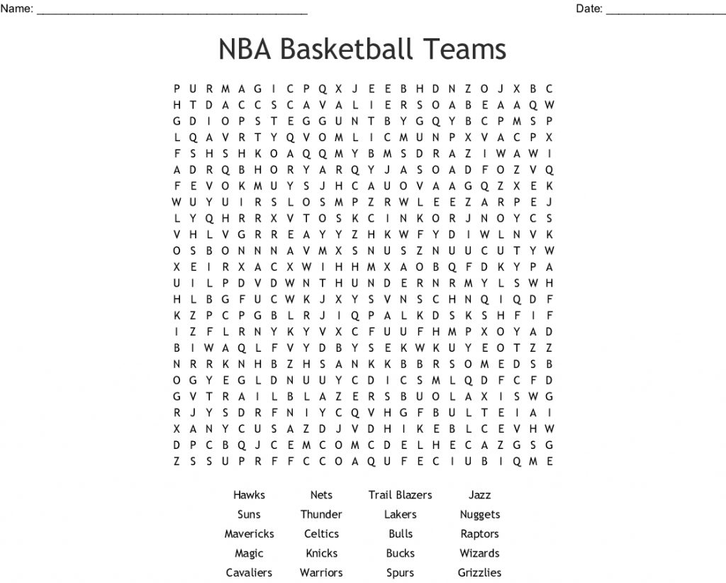 Nba Basketball Teams Word Search