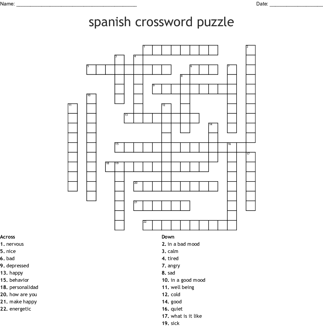Printable Spanish Word Search Puzzles