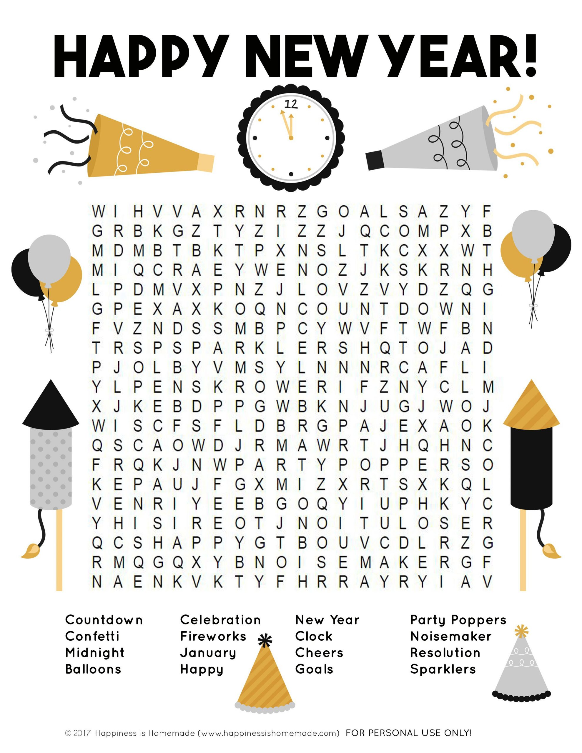 New Year S Eve Word Scramble Printable