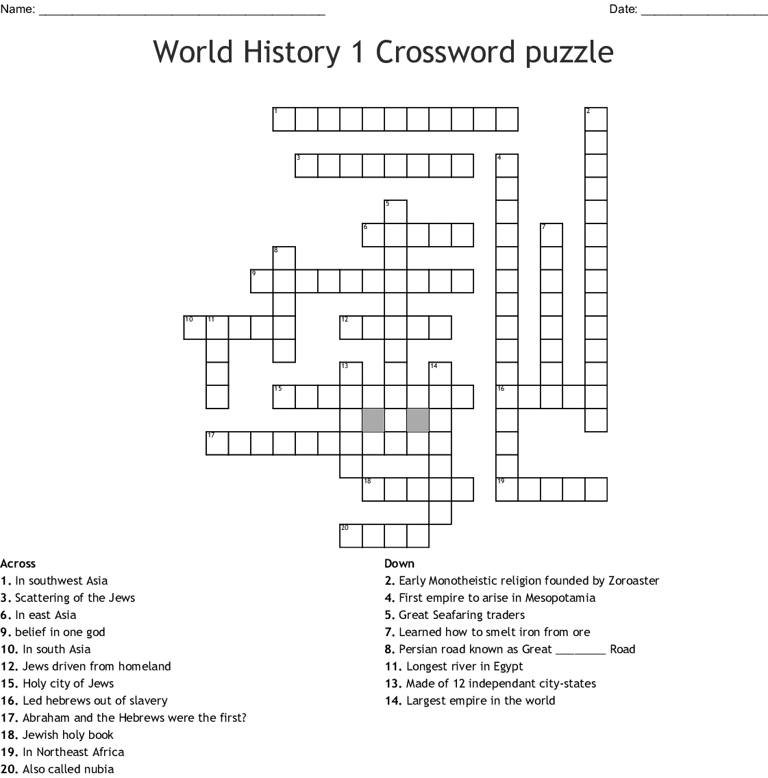 Chapter 1 World History Word Search