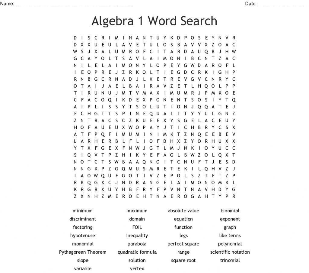 Algebra 2 Word Search