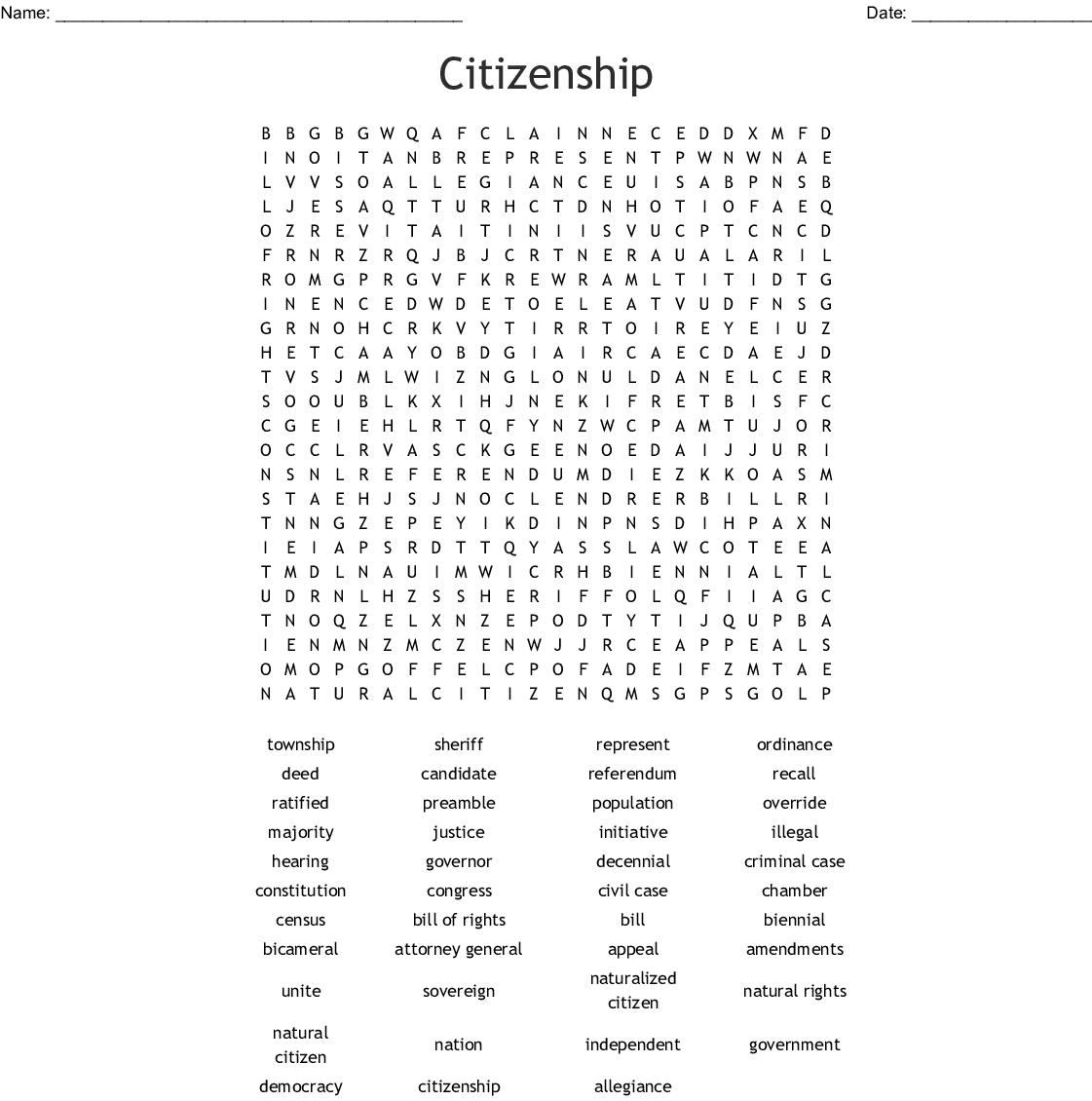 Civics Eoc Word Search