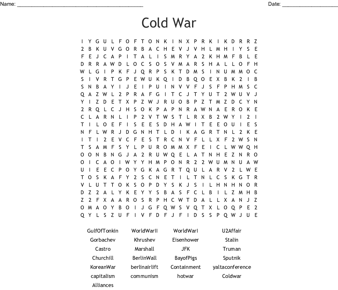 Cold War Word Search Printable