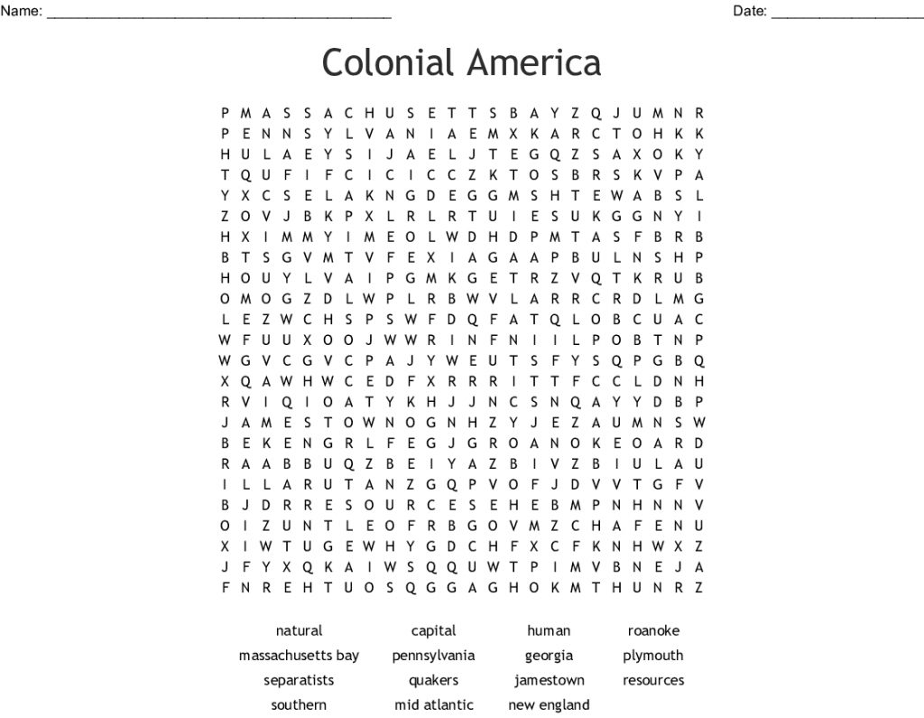 Colonial America Word Search