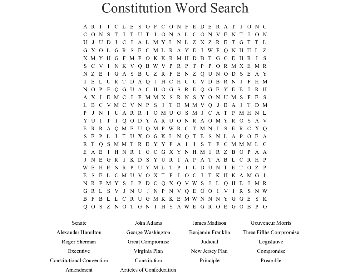 U S Constitution Word Search