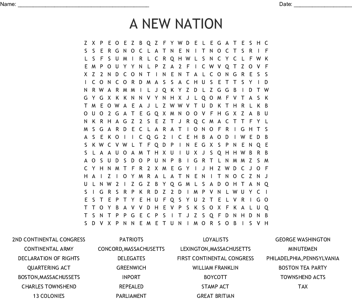 Declaration Of Independence Word Search Printable