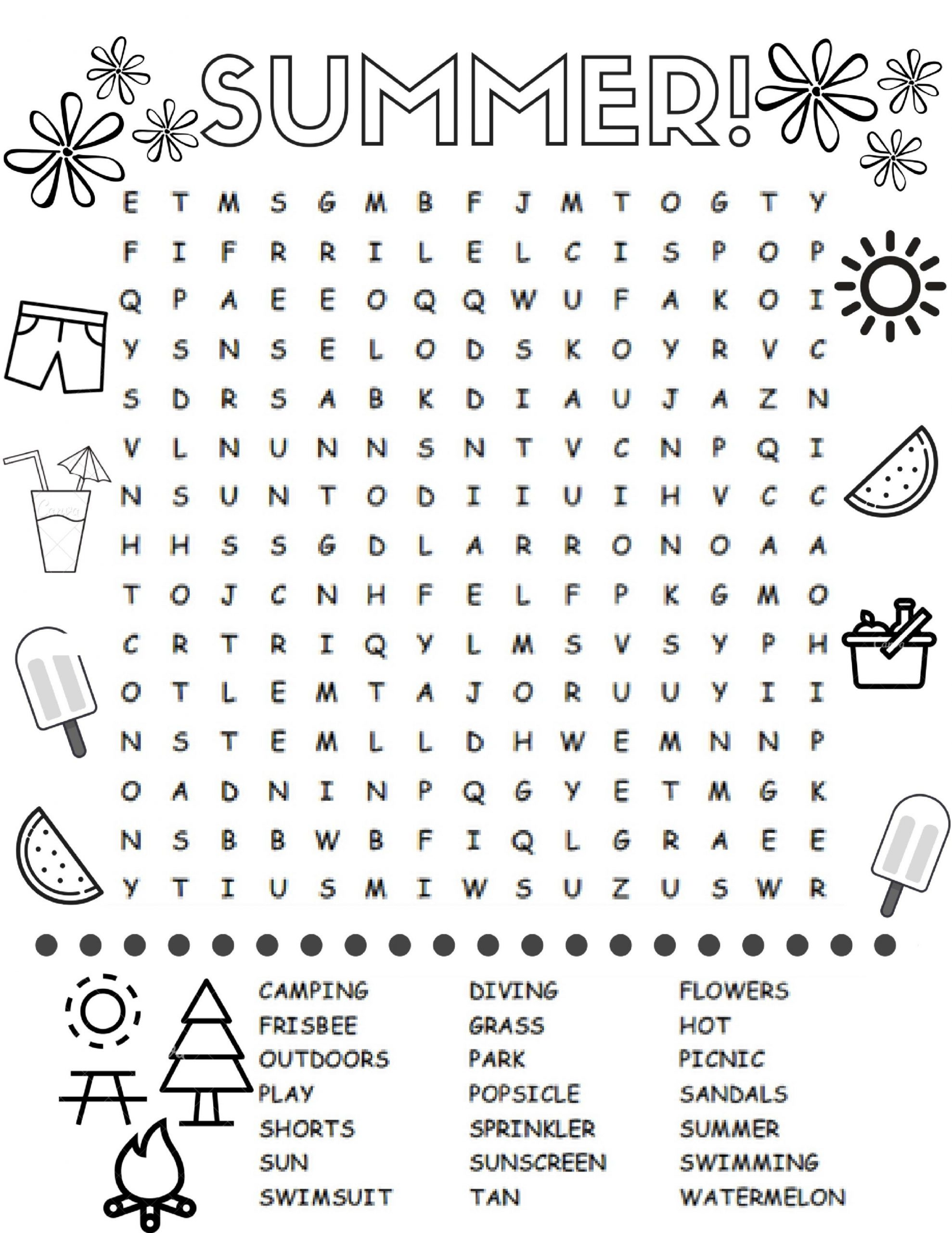 Free Printable Summer Word Searches For Kids