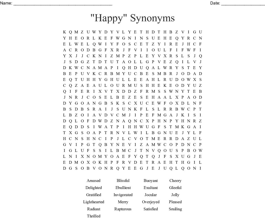 Synonym Word Search Printable