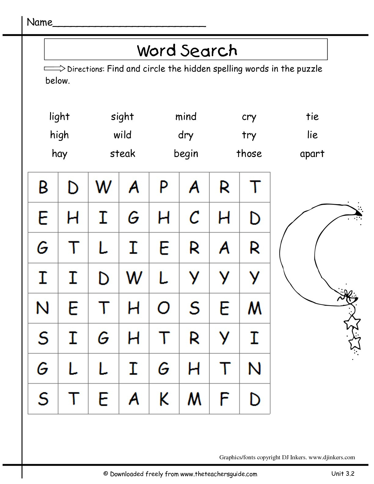 Second Grade Word Search Puzzles Printable