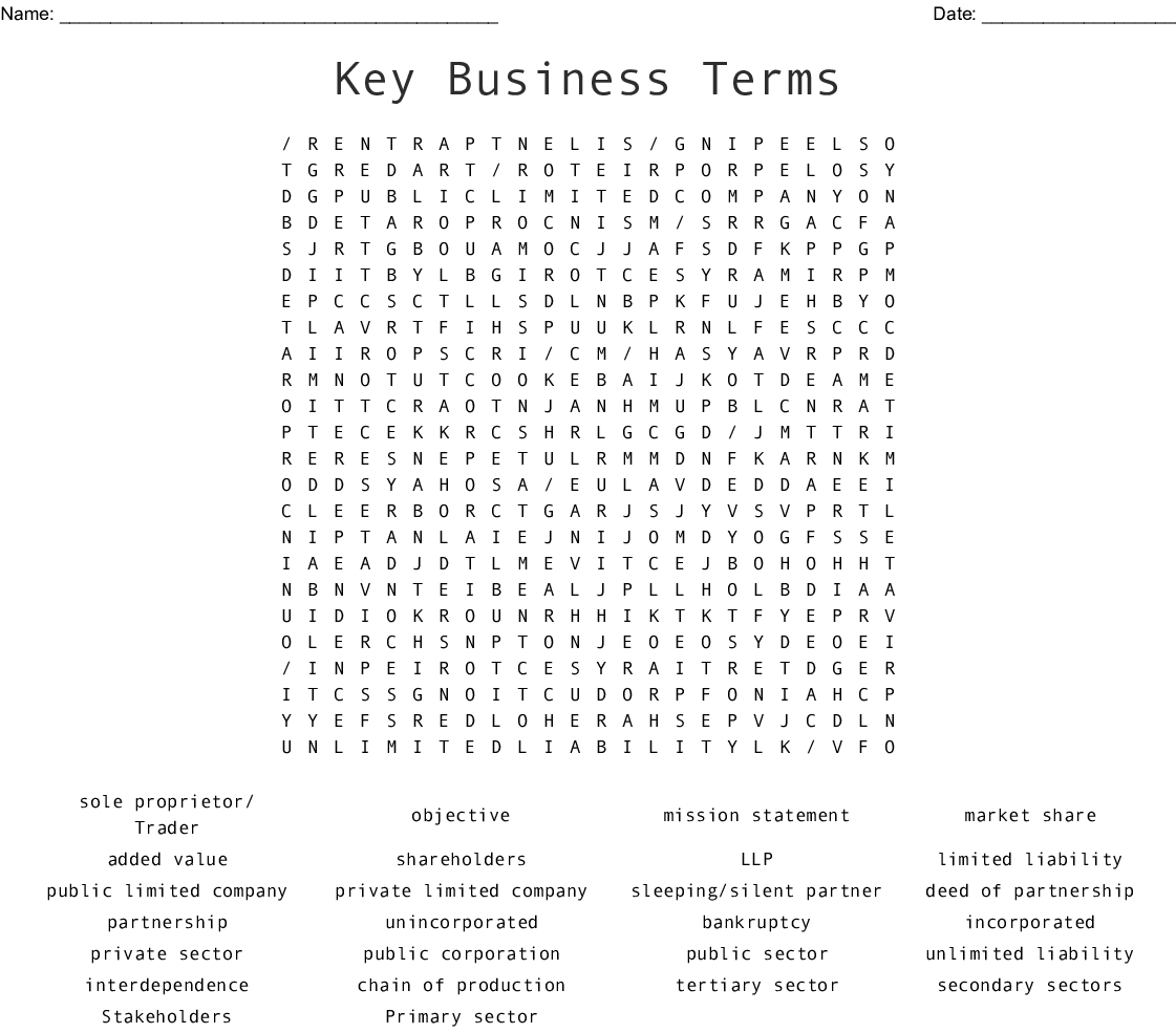 Business Word Search