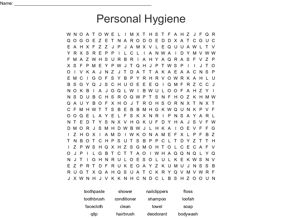 Hygiene Word Search Printable