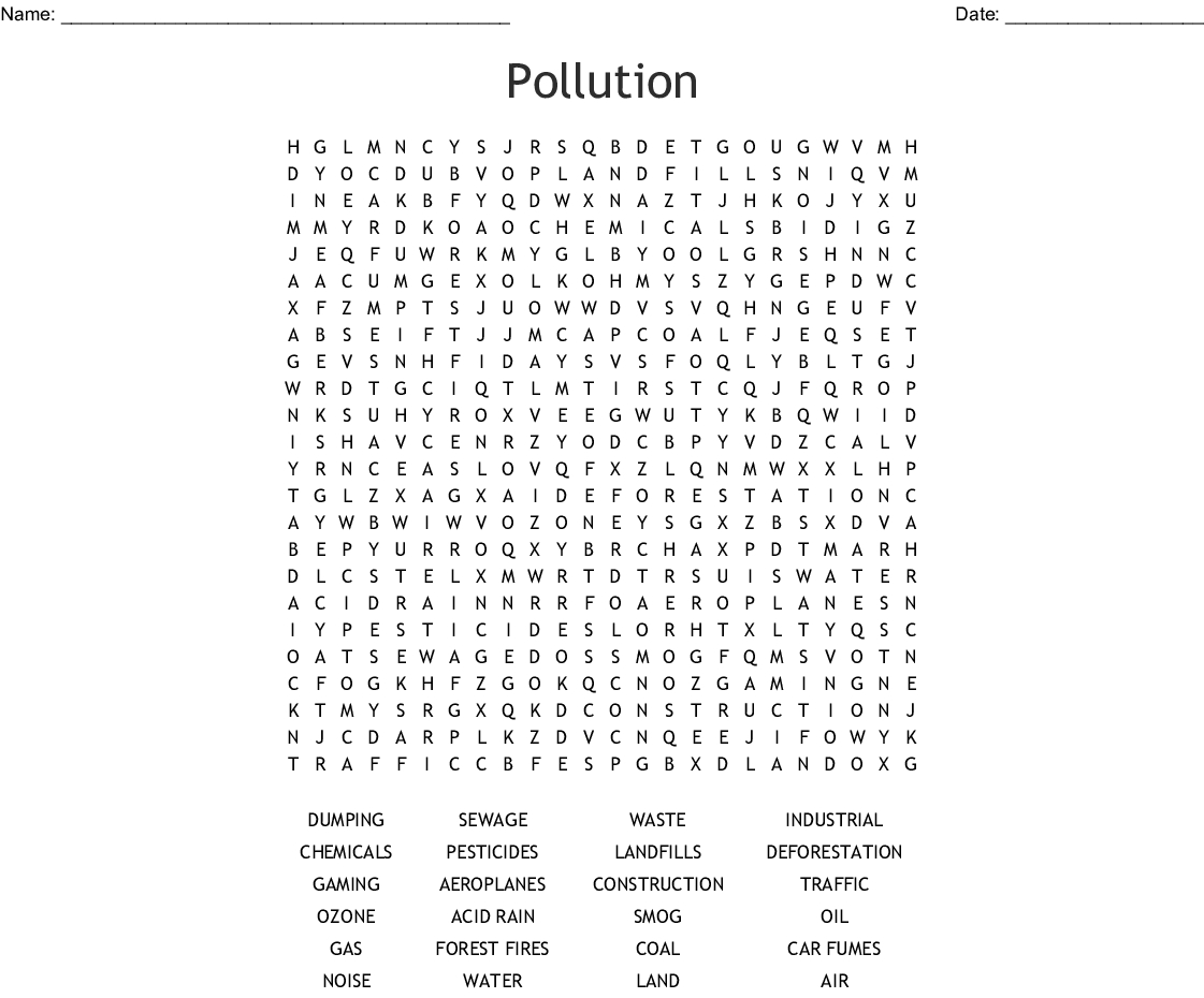 Water Pollution Wordsearch