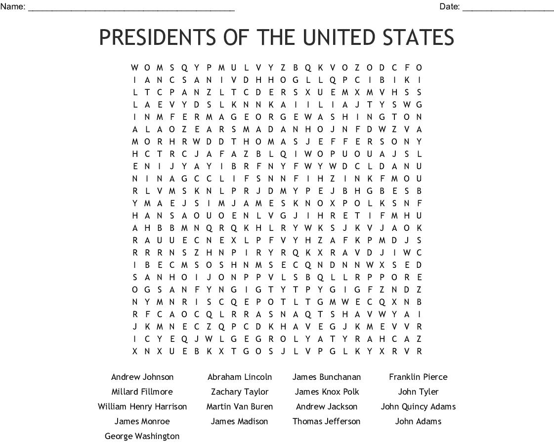 Presidents Wordsearch
