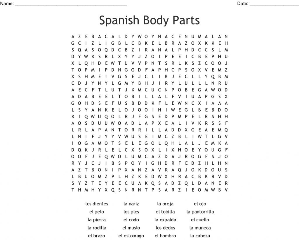 Spanish Crossword Worksheet