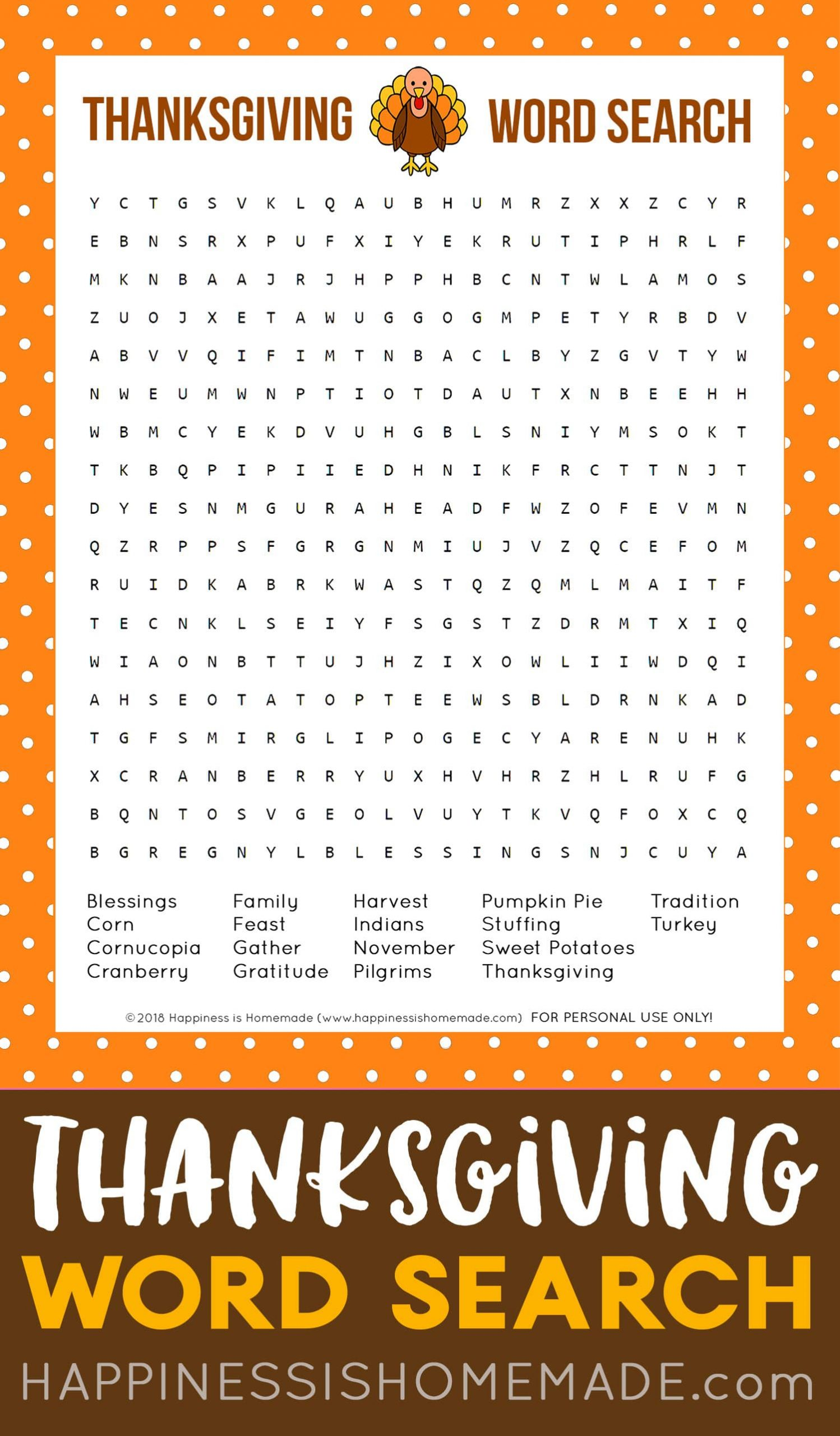 Word Search Printable Thanksgiving
