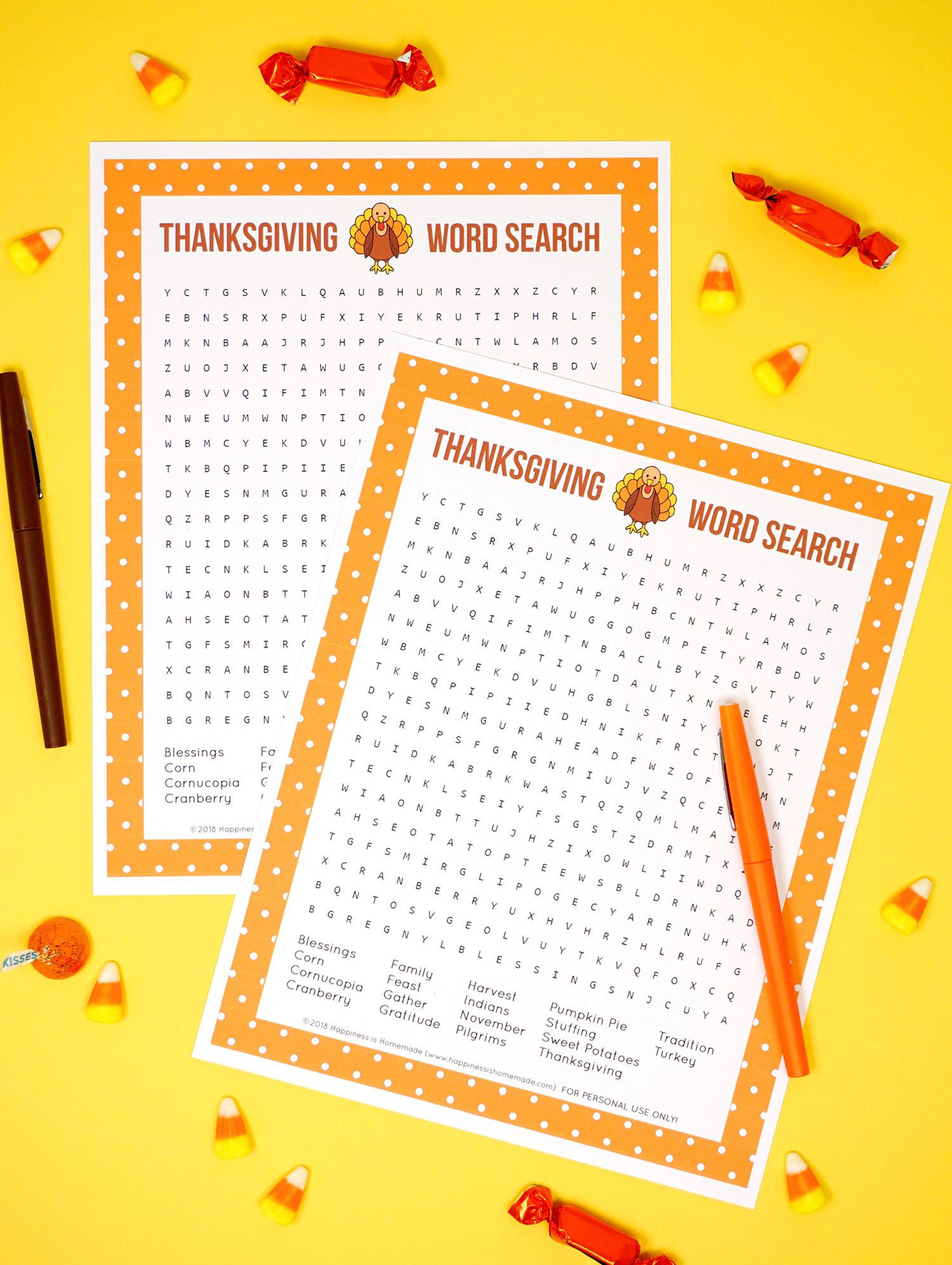 Printable Thanksgiving Word Search Hard