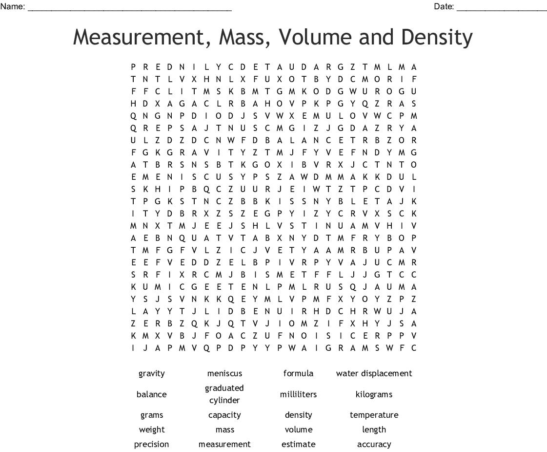 Matter Word Search Printable